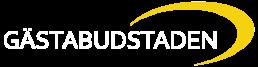 Logotyp för Gästabudstaden i vitt
